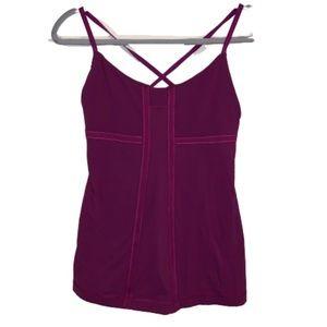 Lululemon purple tank top built in bra criss cross